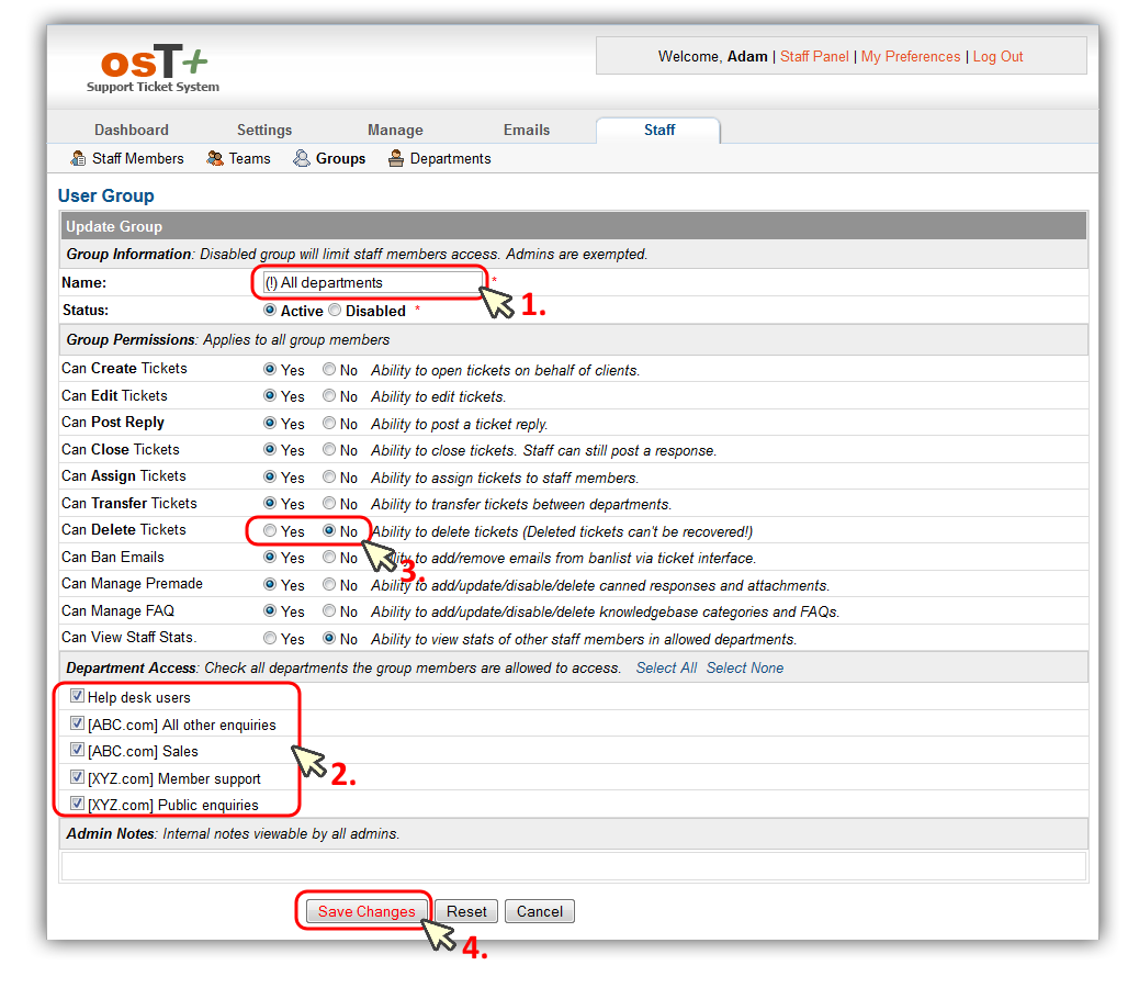 "osT+ configuration – adding ""Access to all departments"" group"