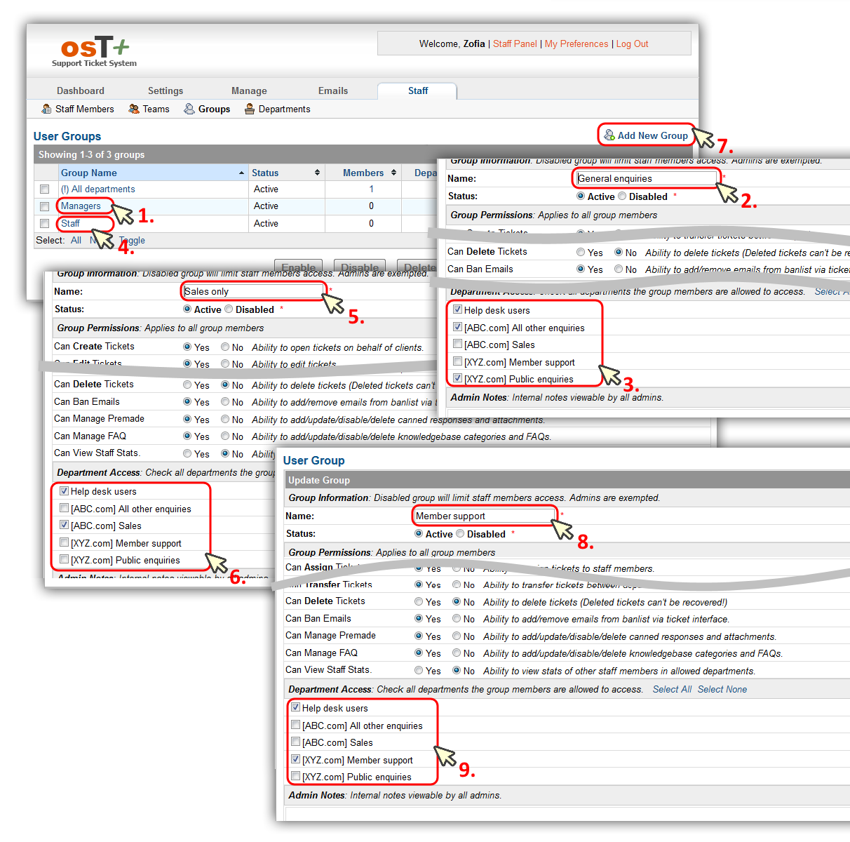 osT+ configuration – assigning department access to each group