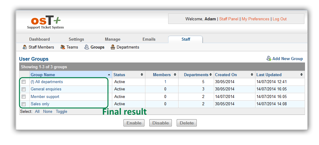 osT+ configuration – access groups