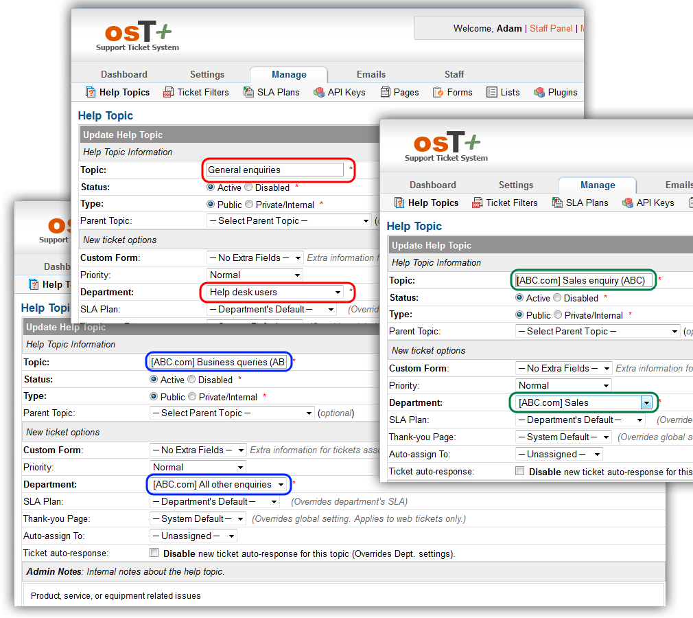 osT+ configuration - adding help topics and linking them to departments
